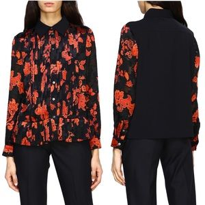 Tory Burch Red & Black Floral Print Pleated Shirt